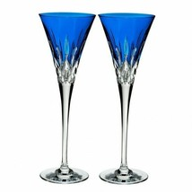 Waterford Lismore Pops Cobalt Toasting Flute Pair #40019531 New Box scuffed - $260.87