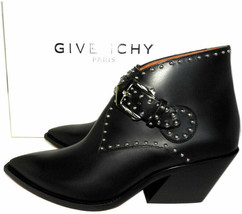 Sz 36.5 Givenchy Black Leather Studded Boots Elegant Western Ankle Booti... - $459.00