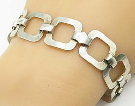 925 Sterling Silver - Vintage Minimalist Open Square Flat Chain Bracelet... - $41.35