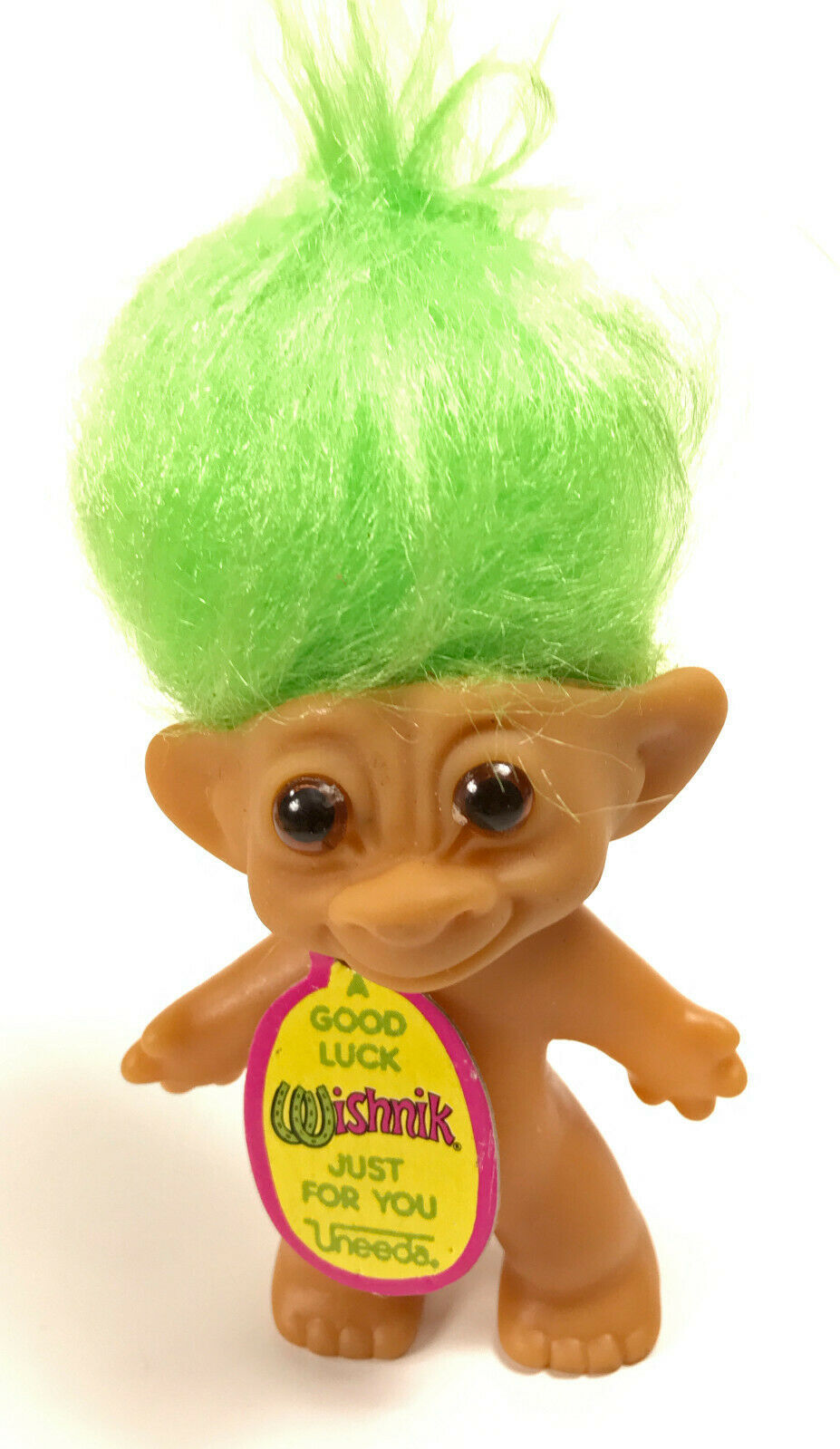 Vintage Uneeda Wishnik Troll  Lime Green Hair 3 Inches with Tag - $14.50