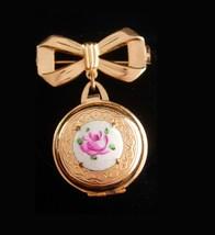 Vintage Coro Locket - guilloche enamel brooch - Victorian sweetheart Cha... - $95.00