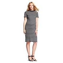 Liz Lange Maternity Black Grey Striped Ribbed Dress NWT - $12.99