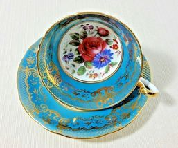 Vintage John Aynsley Turquoise Teal Bone China Footed Cup and Saucer Gol... - $199.99
