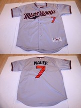 Men's Minnesota Twins Joe Mauer Sz 50 L (50) Authentic Embroidered Jersey (Gray) - $32.47