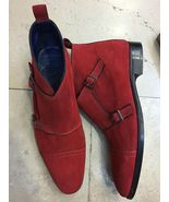 Maroon Red Tone Superior Suede Leather Cap Toe High Ankle Customized Mon... - $149.90+