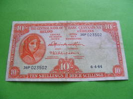 Original Vintage Irish 1964 Ten Shilling Note Ireland Lady Lavery 10 Bob - $19.99