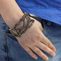 8.52ct Diamond Studded Bangle Bracelet 925 Sterling Silver 14k Gold Fine... - $1,564.73