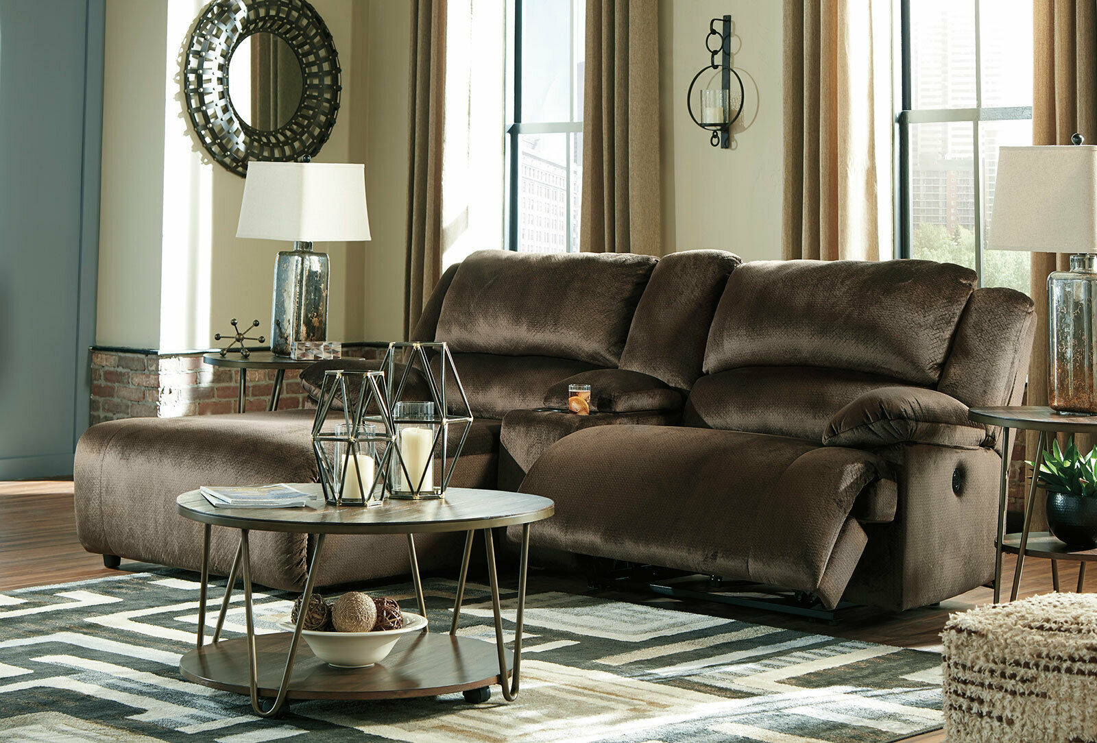 Motion living room 3 piece sectional brown fabric - Fabric reclining living room sets ...