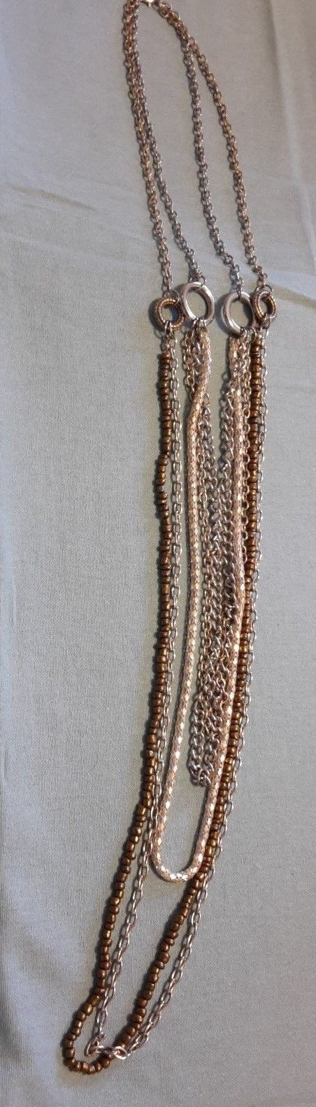 Fall! Vintage Silvertone Waist length multi strand chain necklace
