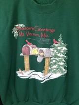 Lee Size Large Cotton Blend Ugly Christmas Green Seasons Greeting Sweatshirt image 2