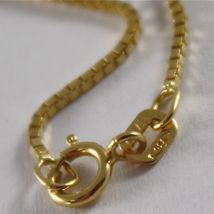 18K YELLOW GOLD CHAIN 1 MM VENETIAN SQUARE LINK 15.75 INCHES, MADE IN ITALY image 3