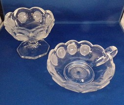 Fostoria Pair Coin Glass Pieces Handled Nappy & Footed Jelly Clear Vintage - $7.92