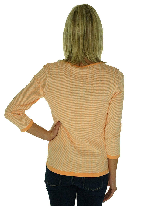 4635-2 Jones New York Collection Full Zip Cardigan Sweater Sherbert White, M $89 image 4