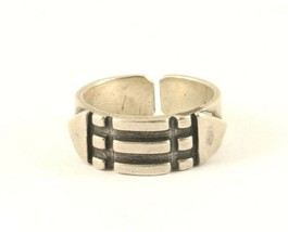 Vintage Silver Wide Triangle Lined Band Design Ring 925 Sterling RG 3917 - $25.99