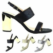 Women Block Heel Sandals Ankle Strap Stilettos Open Toe Ladies Party Sho... - $19.47