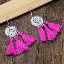 Hot Pink Silk Thread Tassel Earrings For Women | Oxidized Silver Fringe Earrings - $10.00