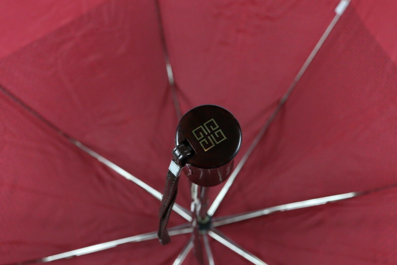 New Vintage Givenchy Spell Out All Over Logo One Touch Rain Umbrella Burgundy