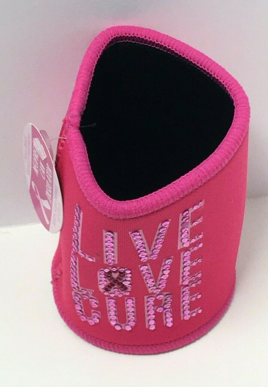 """Novelty Breast Cancer Awareness Pink Neoprene Can Insulator """"Live Love Cure"""""""