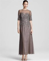 Adrianna Papell Beaded Illusion Bodice Mesh Gown Dress Sz 8 - $150.92