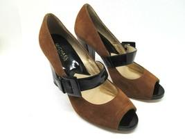 Michael Kors Womens Brown Suede Leather PeepToe Pumps W/ Black Straps Si... - $28.13