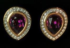 Swarovski Signed Rhinestone Purple Faceted Glass Teardrop Metal Clip-on Earrings - $16.78