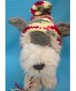 Pet Dog Cat Winter Hat Burgundy/Gray/Cream Tiny Handmade Crochet by Bren - $9.00