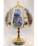 Giraffe Glass Panel Polished Brass Finish Touch Lamp NEW - $45.99