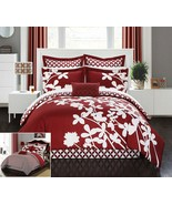 Chic Home 11 Piece Iris Reversible large scale floral design printed wit... - $135.54