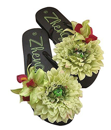 Fashion Summer Item, Green Flower Flip Flop Beach Casual Sandals
