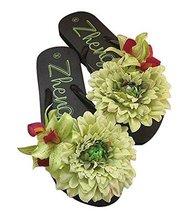 Fashion Summer Item, Green Flower Flip Flop Beach Casual Sandals