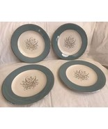 "Syracuse MEADOW BREEZE 10-3/4"" Dinner Plates MINT Silver Rim Set of 4 - $44.54"