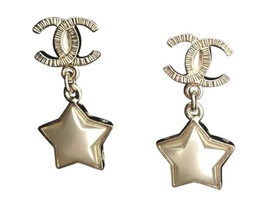 Authentic Chanel RARE CC Logo Star Dangle Drop Gold Earrings