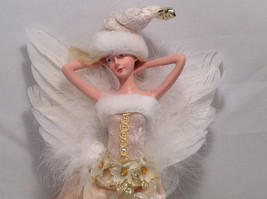 Ivory Velvet Christmas Angel Fairy Doll Hanging Ornament by American Silkflower image 3