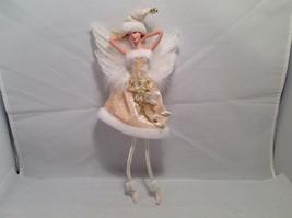 Ivory Velvet Christmas Angel Fairy Doll Hanging Ornament by American Silkflower image 7