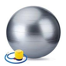 "22"" Silver Exercise Yoga Ball with Pump,Pilates & Balance Training,Anti-burst&Sl - $19.98"