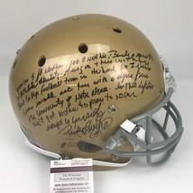 Autographed/Signed RUDY RUETTIGER Speech Notre Dame Full Size FS Helmet JSA COA image 1