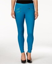 Hue Leggings Sz M Planet Blue Zippered Glossy D... - $19.71