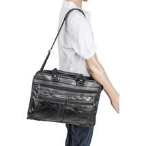 Maxam Black Genuine Leather Briefcase Attache Case Adjustable Strap - $29.89