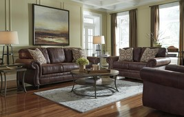 Ashley Breville Living Room Set 3pcs in Espresso Faux Leather Traditional Style