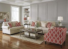 Ashley Sansimeon Living Room Set 3pcs in Stone Upholstery Fabric Traditional