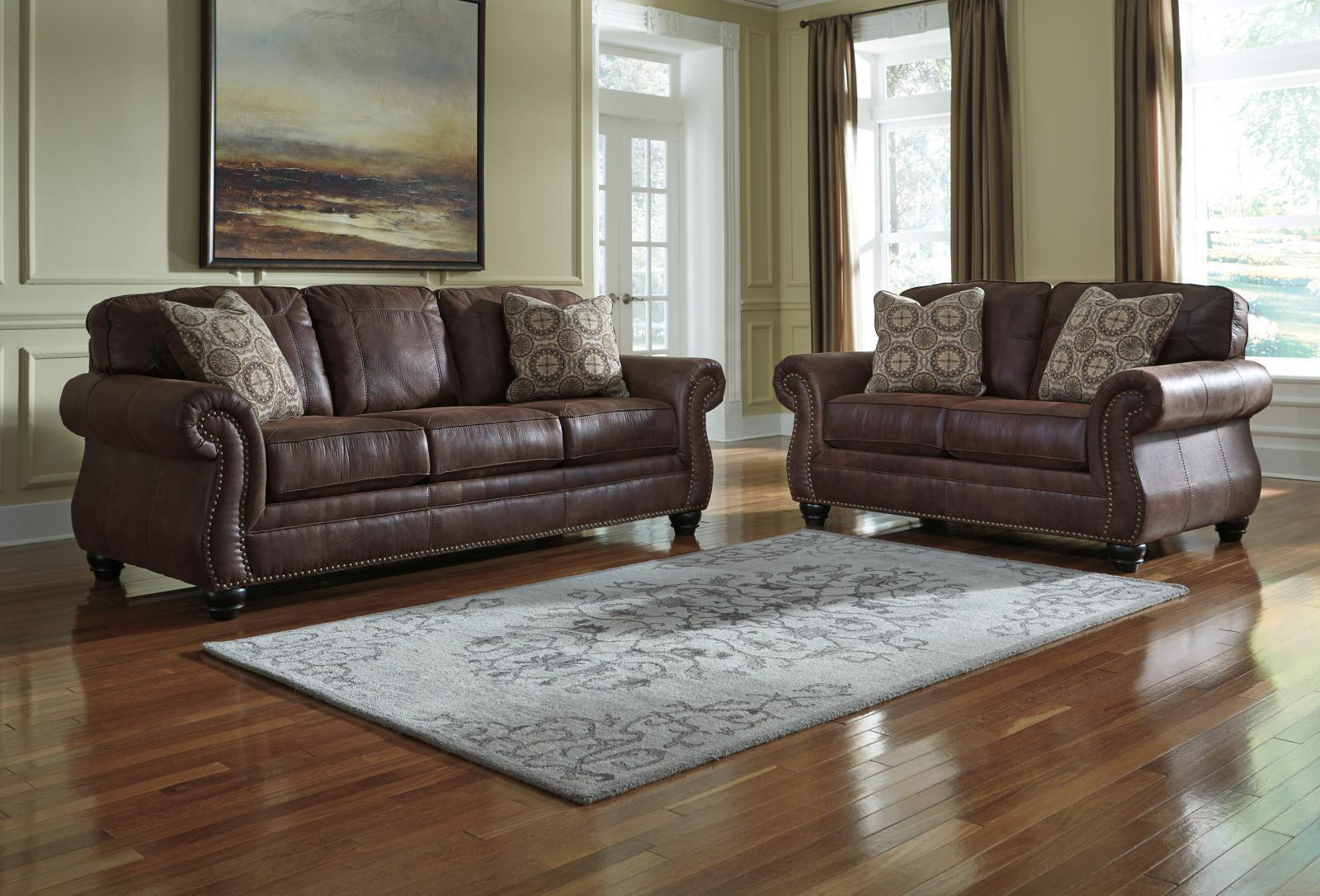 Ashley Breville Living Room Set 2pcs in Espresso Faux Leather Traditional Style