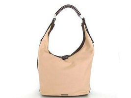 Authentic GUCCI Canvas Leather Beige Dark Brown Shoulder Bag Purse - $131.97