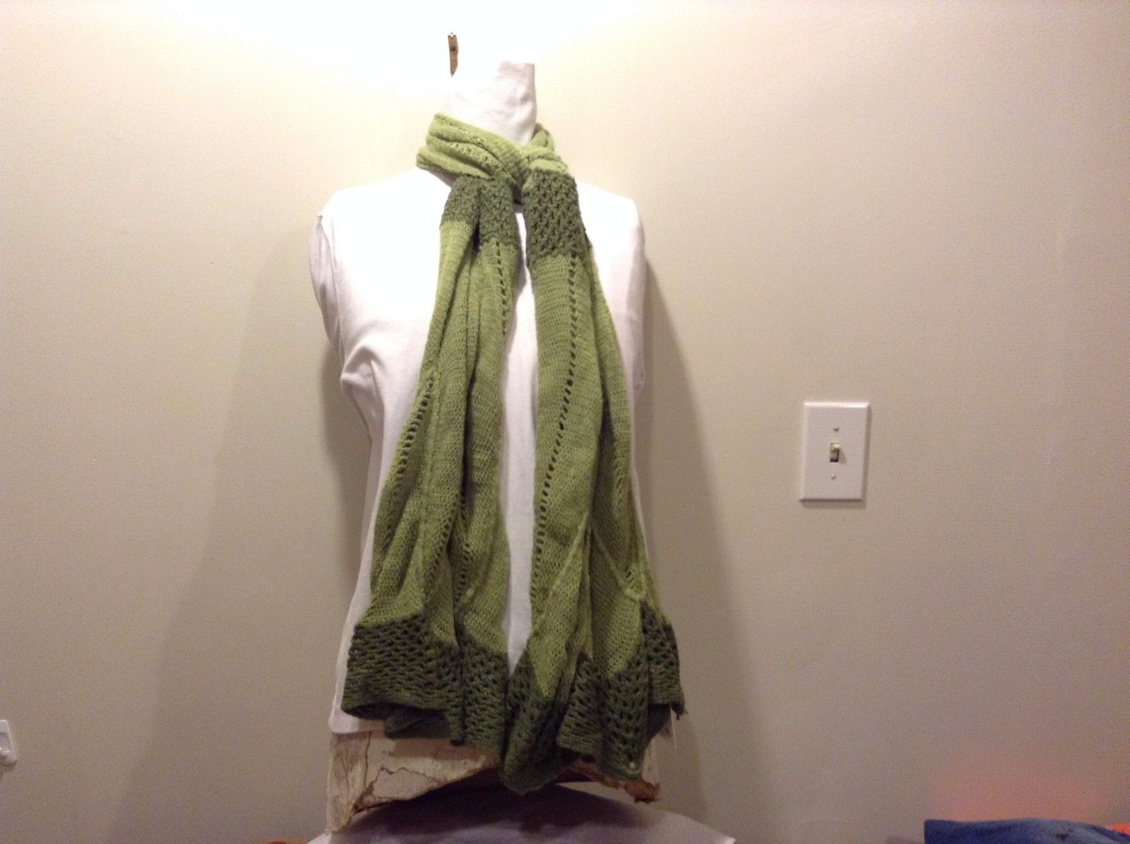 Mad About Style Light Dark Green Striped 100% Acrylic Scarf