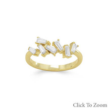 Gold Ring with Angular CZs Design - $36.98