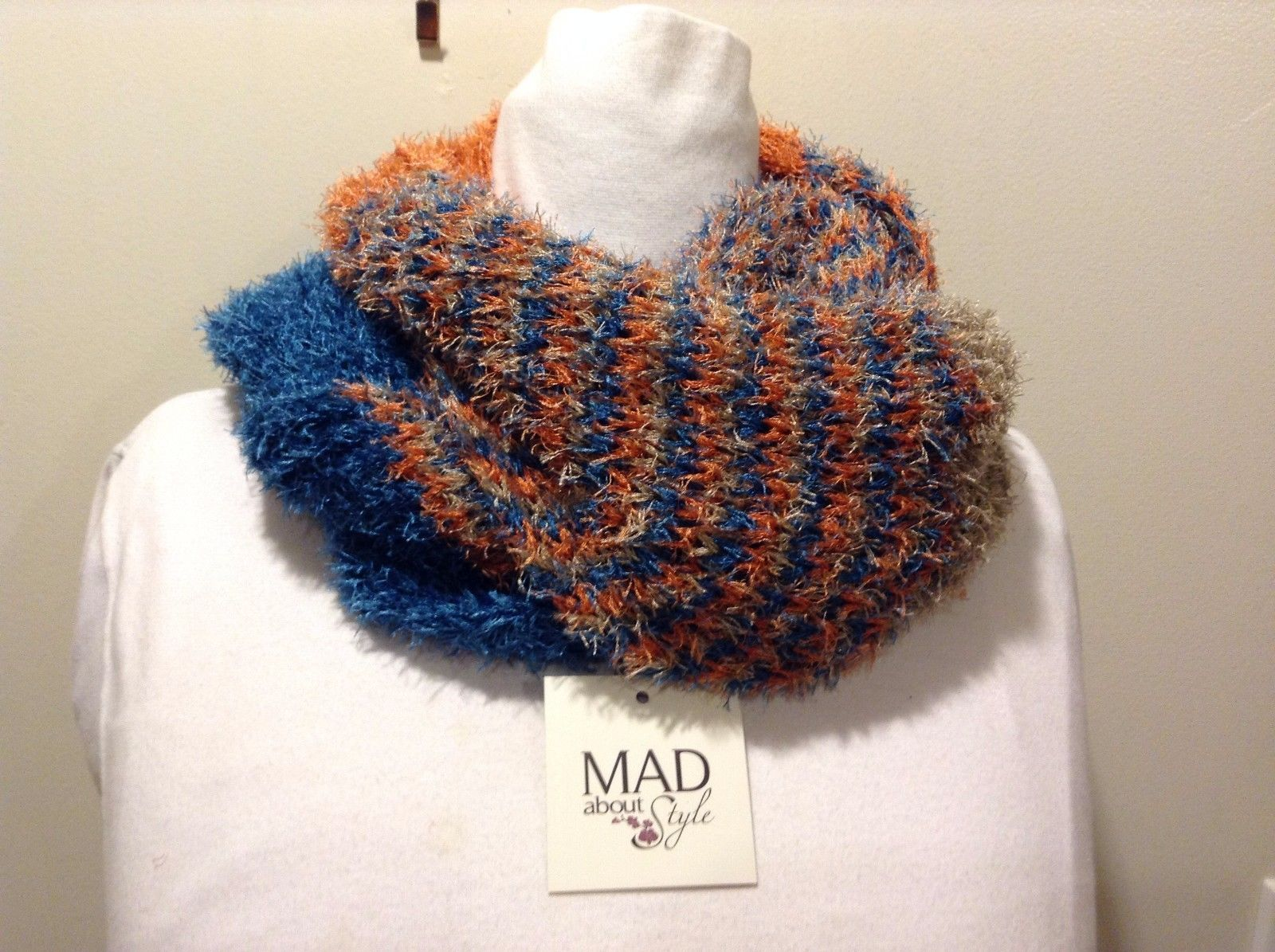 Mad About Style Frayed Blue Tan Orange Infinity Scarf
