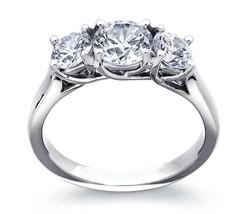 3.50CT Forever One Moissanite 3-Stone Trellis Ring White Gold  - $1,640.78+