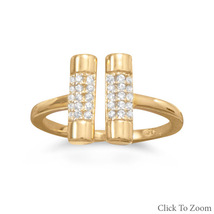 Gold Band Ring with Double CZ Bar Design - $39.98