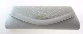 LA REGALE SILVER SATIN/BEADED EVENING CLUTCH WITH LONG CHAIN - $16.99