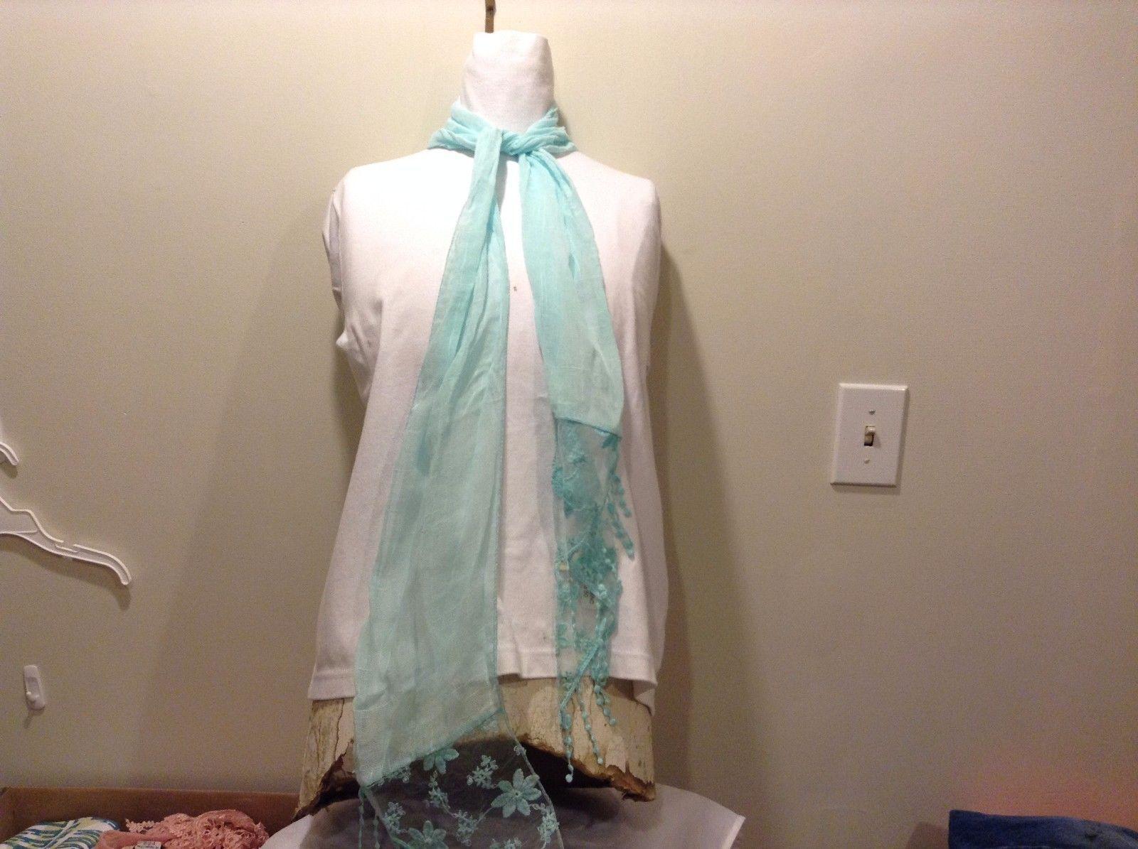 Light Blue Sheer Scarf Diamond Floral Ends Polyester Blend