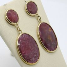 YELLOW GOLD EARRINGS 9K WITH RUBIES ROUGH MADE IN ITALY PIECE SINGLE image 3